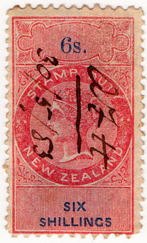 (190) 6/- Red & Blue (1870)